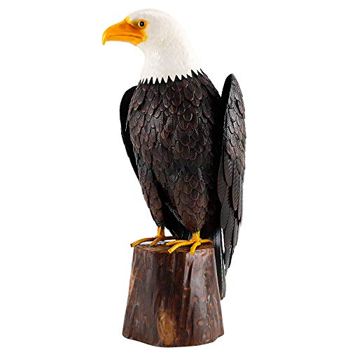 Chisheen Bald Eagle Outdoor Metal Yard Art Statue and Sculpture for Garden Lawn Patio Living Room Decoration