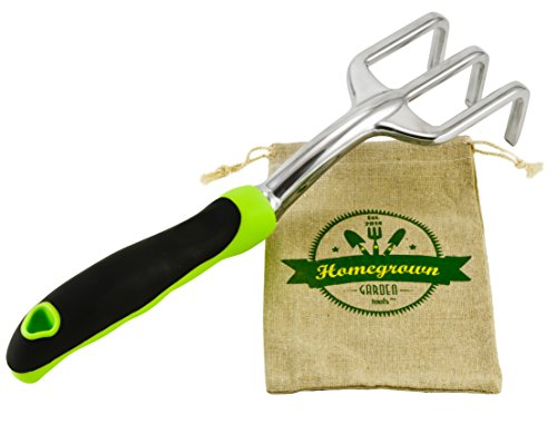 Garden Cultivator & Soil Tiller with Ergonomic Handle; Hand Rake and Garden Claw Best for Weed Removal; Includes Burlap Sack - Great Gift for Gardener