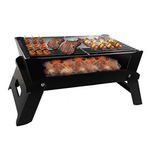 JiaDa BBQ Grill Portable,NewStyle Charcoal Barbecue Grill Smoker Grill for Outdoor Cooking Camping Hiking Party-Black (Big-2)