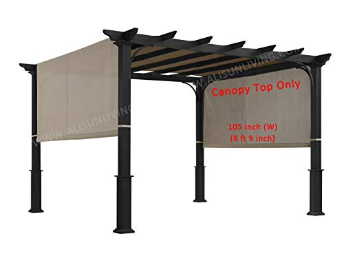 ALISUN Replacement Sling Canopy (with Ties) for The Lowe's Garden Treasures 10 FT Pergola #S-J-110 & TP15-048C (Beige) (Canopy TOP ONLY)