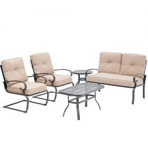 Oakmont 5Pcs Outdoor Furniture Patio Conversation Sets Loveseat, 2 Motion Spring Chairs with Coffee Table, Metal Frame Chair Set (Brown)