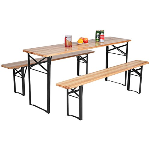 "Giantex 70"" 3-Piece Portable Folding Picnic Beer Table with Seating Set Wooden Top Picnic Table for Patio Outdoor Activities Garden Use, 30"" Table Height"