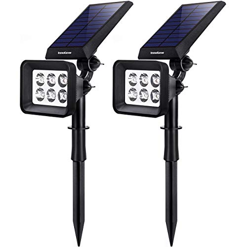 InnoGear Solar Lights Outdoor, 6 LED Solar Landscape Spotlights 2-in-1 IP65 Waterproof Auto On/Off Outdoor Lights Decorative Wall Light for Yard Garden Driveway Pathway Pool, Pack of 2 (White)