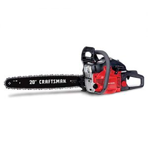Craftsman CMXGSAMY426S 46cc 2-Cycle Full Crank 20-Inch Gas Powered Chainsaw with Carrying Case, Liberty Red