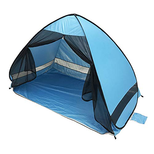 Beach Tent Beach Umbrella Outdoor Sun Shelter Canopy Cabana UPF 50+ Sun Shade Easy Set Up 3-4 Person, Lightweight and Easy to Carry Camping Fishing Hiking Shade Shelter Tent (Sky Blue, 2.53LB)