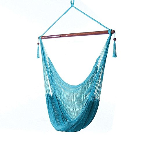 Sunnydaze Hanging Rope Hammock Chair Swing - Caribbean Style Extra Large Hanging Chair for Backyard & Patio - Sky Blue