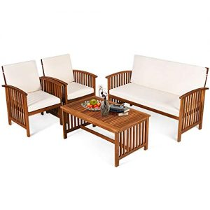 Tangkula Outdoor 4 Pcs Acacia Wood Sofa Set w/Water Resistant Cushions, Padded Patio Seating Chat Set w/Coffee Table for Garden, Backyard, Poolside (1, White)