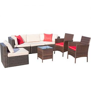 VICTONE 7 Pieces Patio Furniture Sets All-Weather Sectional Sofa Wicker Rattan Patio Conversation Set with Chairs and Glass Table (Red)
