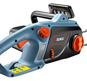 """SENIX CSE12-M 12 Amp Electric Chainsaw with 16"""" Oregon Bar and Chain, Tooless Chain Tensioning, Auto Oiler and Chain Brake"""
