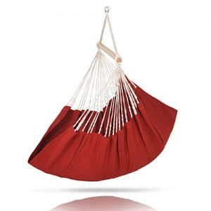 ELC Hammock Swing Chair, Olefin Fabric Hanging Hammock Chair for Indoor & Outdoor, Bedroom Patio Backyard (Red)