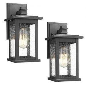 Emliviar Outdoor Wall Mount Lights 2 Pack, 1-Light Exterior Sconces Lantern in Black Finish with Clear Seeded Glass, OS-1803EW1-2PK