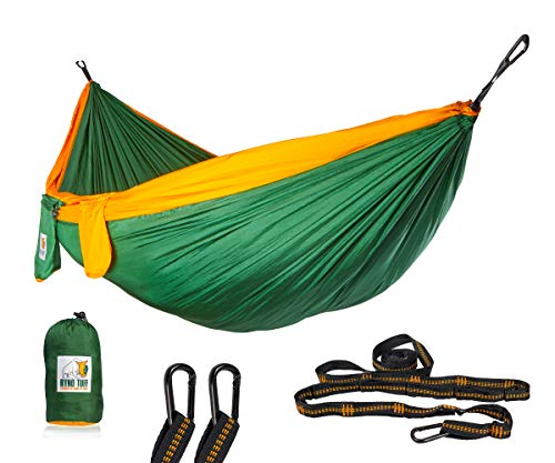 Ryno Tuff Camping Hammock - Double Hammock with Straps, Reinforced Not to Tear But Still Lightweight, Extra Pocket, Safe Tree Straps, and Heavy Duty Carabiners Included.