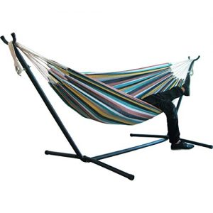 BOXIDO Outdoor Leisure Double 2 Person Hammocks,Comfort Durability Striped Ultralight Camping Hammock(Without Stand) (C)
