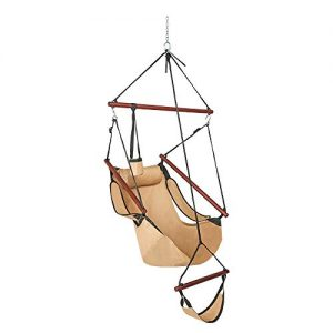 ONCLOUD Upgraded Unique Hammock Sky Chair, Air Deluxe Hanging Swing Seat with Rope Through The Bars Safer Relax with Drink Holder & Fuller Pillow Solid Wood Indoor Outdoor Patio Yard 250LBS (Tan)