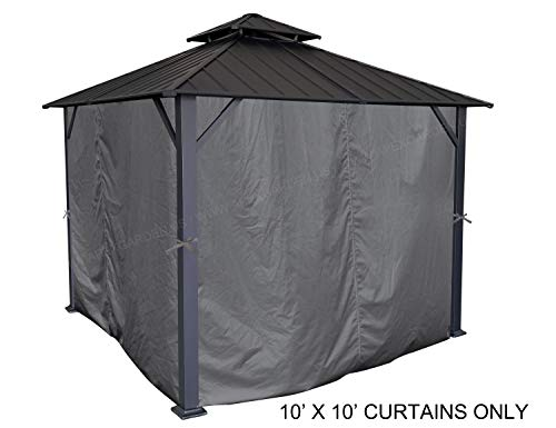 APEX GARDEN Universal Privacy Curtain Set for 10' x 10' Gazebo (10-ft x 10-ft, Charcoal)