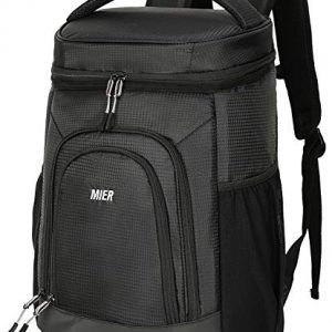 MIER Insulated Lunch Backpack Leakproof Soft Cooler for Men Women to Beach, Travel, Picnic, Hiking, Work,30 Can, Black