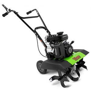 "Tazz 35310 2-in-1 Front Tine Tiller/Cultivator, 79cc 4-Cycle Viper Engine, Gear Drive Transmission, Forged Steel Tines, Multiple Tilling Widths of 11"", 16"" & 21"", Toolless Removable Side Shields,Green"