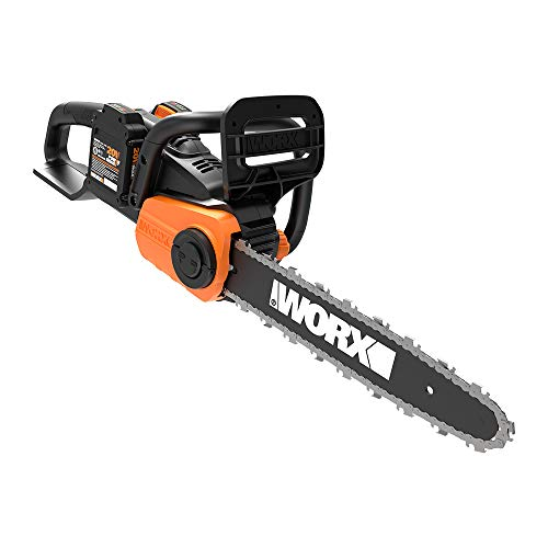 "WORX WG384 40V Power Share 14"" Cordless Chainsaw w/ Auto-Tension (2x20V Batteries),Black and Orange"