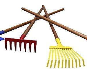 "Arcadius Garden Kids Garden Tools Set, 7/8"" x 30""- Rake, Spade, Hoe and Leaf Rake, 4-Piece"
