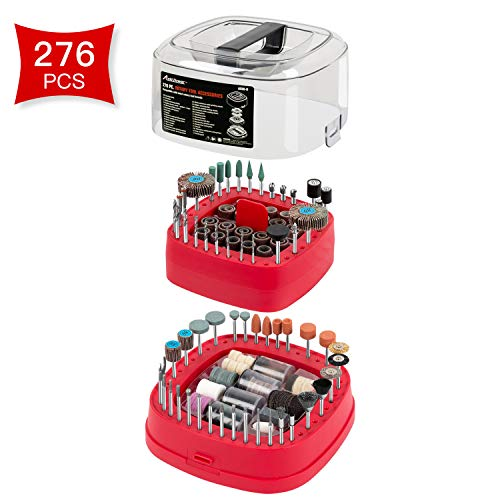 Avid Power Rotary Tool Accessories Kit 276 Pieces, 1/8-inch Diameter Shanks Universal Fitment for Easy Cutting, Grinding, Sanding, Sharpening, Carving and Polishing
