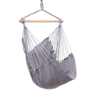 Y- STOP Hammock Chair Hanging Rope Swing - Max 330 Lbs - Quality Cotton Weave for Superior Comfort & Durability (Light Grey)
