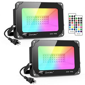 Onforu 2 Pack 60W Color LED Flood Lights, RGB LED Flood Light with Remote Control, IP66 Waterproof Outdoor Indoor Color Changing Floodlight, Dimmable Wall Washer Light for Party, Garden, Landscape
