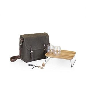 LEGACY - a Picnic Time Brand Adventure Insulated Double Wine Tote with Service for Two, Khaki Green/Brown