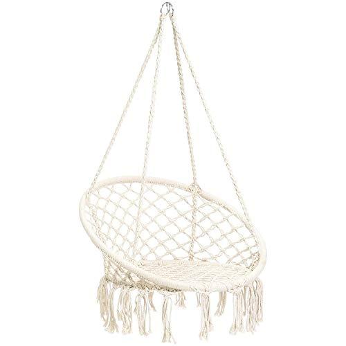 BCGI Hammock Chair Macrame Swing, Hanging Cotton Rope Swing Chair, Comfortable Sturdy Hanging Chairs for Indoor,Outdoor,Bedroom,Patio,Yard, Garden,Home,260LBS Capacity (D-White)