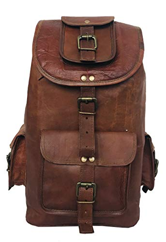 "cuero 22"" Genuine Large Leather Retro Rucksack Backpack Picnic Bag Travel"