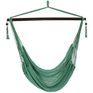 Sunnydaze Hanging Caribbean XL Hammock Chair - Modern Boho-Style Soft-Spun Polyester Rope Hammock Chair Swing - Jungle Green - Ideal for Yard, Balcony, Garden and Other Outdoor Living Spaces