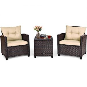 Tangkula 3 Pieces Patio Furniture Set, PE Rattan Wicker 3 Pcs Outdoor Sofa Set w/Washable Cushion and Tempered Glass Tabletop, Conversation Furniture for Garden Poolside Balcony (Mix Brown)