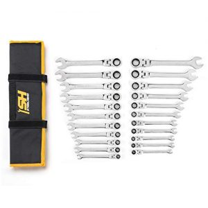 "STEELHEAD 22-Piece SAE & Metric 12-Point Flex-Head Ratcheting Combination Wrench Set (SAE: 1/4-3/4"", Metric: 8-18mm), Chrome Vanadium, 72-Tooth Gearing, USA-Based Support"