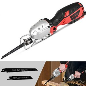 Goplus Compact Reciprocating Saw Kit Electric Saw, 5Amp 1/2'' Stroke Length, Max Cutting Capacity: 4-1/2'', 3000SPM Variable Speed and Trigger Switch with 2 Saw Blades for Wood and Metal Cutting
