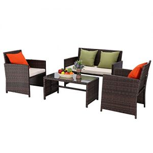 Furnimy 4 Pieces Rattan Wicker Patio Furniture Set Outdoor Conversation Sofa Set Mix Brown with 1 Loveseat, 2 Single Chairs and 1 Coffee Table (Beige)