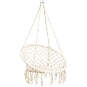 CCTRO Hammock Chair Macrame Swing,Boho Style Rattan Chair Hanging Macrame Hammock Swing Chairs for Indoor/Outdoor Home Patio Porch Yard Garden Deck,265 Pound Capacity (C White)