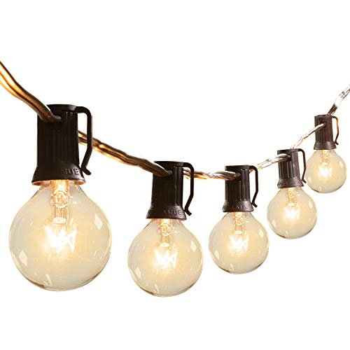 Brightown Outdoor Patio String Lights-100Ft G40 Backyard Lights with 104 5W Edison Clear Bulbs(4 Spare), UL listed Waterproof Hanging Lights for Balcony Porch Bistro Party Decor, C7/E12 Socket, Black