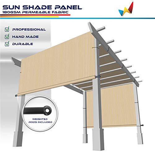 Windscreen4less 8' x 12' Universal Replacement Shade Cover Canopy for Pergola Patio Porch Privacy Shade Screen Panel with Grommets on 2 Sides Includes Weighted Rods Breathable UV Block Beige Tan