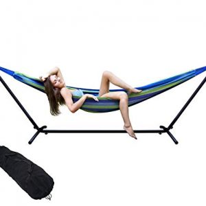 Double Hammock Two Person Adjustable Hammock Bed with Space Saving Steel Stand Includes Portable Carrying Case, Easy Set Up (Blue/Green)