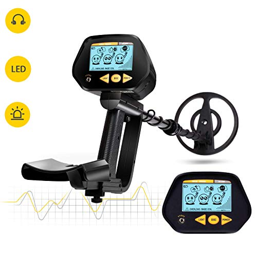 INTEY Metal Detector with Waterproof Search Coil, High Precision, LCD Screen with Headphone Jack, DISC Mode for Detecting Gold, Beach Treasure - Perfect Gift