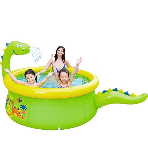 """Lunvon Inflatable Swimming Pool for Kids, Dinosaur Pool Sprinkler Water Toys, Size 69"""" X 24.5"""", Kiddie Pool for Age 3+"""