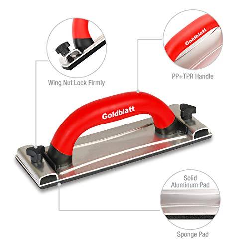Goldblatt Drywall Sanding Block, Hand Sander with Handle, Sandpaper Holder Tool for Wood, Drywall, Metal, Auto Body Polishing