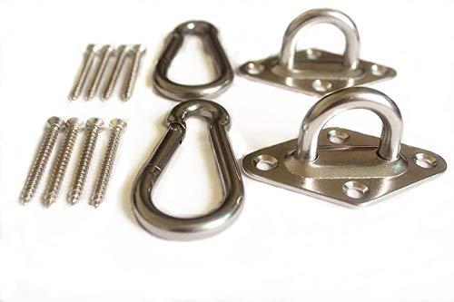 MHMYDZ 1000 lb Capacity Heavy Duty Hammock Hanging kit Ultra Durable Hammock Hooks&Carabiners for Hammock Stand,Yoga&Brazilian Hammocks,Swing Chair,Multiple Indoor Outdoor Suspension Ceiling Hooks