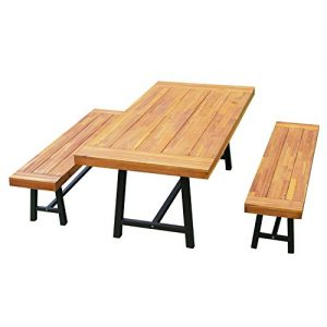 """Outsunny 3 Piece 71"""" Acacia Wood Outdoor Picnic Table and Bench Dining Set"""