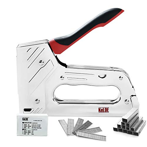 KeLDE Manual Staple Gun Kit, Heavy Duty Hand Tacker/Nailer for T50 Staples and Brad Nails, Includes 1200pcs Staples with 5/16, 3/8, 1/2, 9/16 Inch Length and 300 pieces 5/8-in Nails