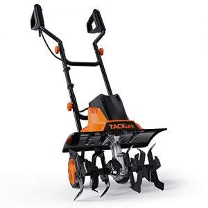 TACKLIFE Electric Tiller, 12 Amp Tiller, 16'' Tilling Width, 8'' Working Depth, 6 Tines, Foldable Handle, Adjustable Wheels, Classic Tiller -TGTL02A
