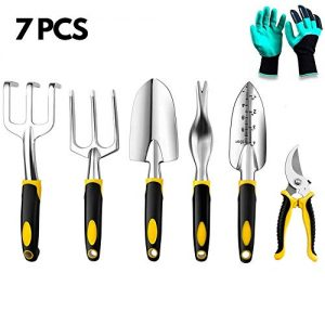 Powerdelux 7 Piece Garden Tools Set-Gardening Tools,Pruning Shears, Garden Gloves, Succulent Tools Set, Heavy Duty Gardening Tools Aluminum with Soft Rubberized Non-Slip Handle Tools