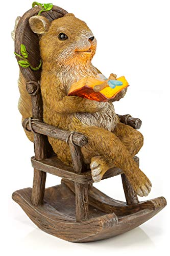 VP Home Squirrel Reading and Relaxing on Rocking Chair Solar Powered LED Outdoor Decor Garden Light