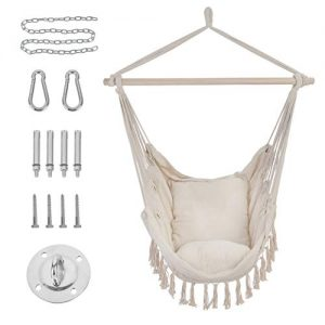 Patio Watcher Hammock Chair Hanging Rope Swing Seat with 2 Cushions and Hardware Kits, Perfect for Indoor, Outdoor, Home, Bedroom, Patio, Yard,Deck, Garden