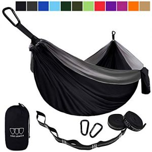 Gold Armour Camping Hammock - USA Brand Single Parachute Hammock Lightweight Nylon Portable Adult Kids Best Accessories Gear (Black and Gray)