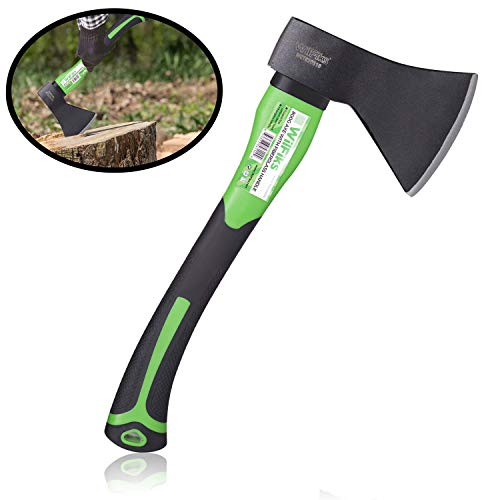 """WilFiks Chopping Axe, 15"""" Camping Outdoor Hatchet for Wood Splitting and Kindling, Forged Carbon Steel Heat Treated Hand Maul Tool, Fiberglass Shock Reduction Handle with Anti-Slip Grip"""